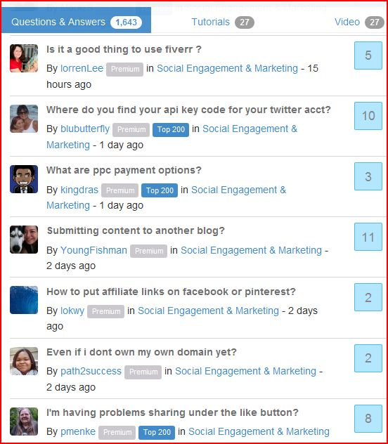 Wealthy Affiliate community's questions and answers page