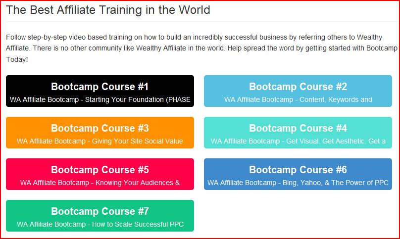 A page reading the best affiliate training in the world shwoing the various bootcamp courses for My honest wealthy affiliate review