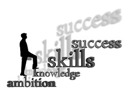 Silhouette of a man climbing up to through ambition, knowledge, skills and to success