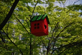 A red bird house with a green roof niched in leafy trees as part of How to Start and Run an Online Business Successfully (Part I)
