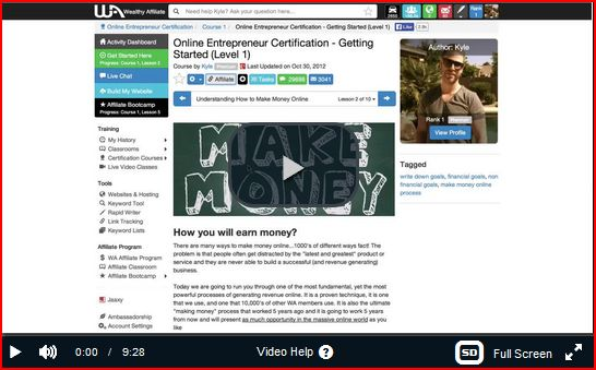 Wealthy Affiliate entreneurial course 1 showing MAKE MONEY
