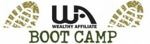 Image of boot prints with the WA logo in the center to denote affiliate bootcamp training for My honest wealthy affiliate review