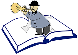 Drawing of a man in black hat blowing a horn and standing on an opened book to signify content matters.