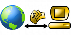 A diagrammatical representation of a Merchant account showing a globe on the left and dollars flying to and from a golden computer as part of How to Start and Run an Online Business Successfully (Part I)
