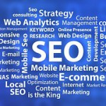 A drawing showing SEO in the middle surrounded by all concerning SEO