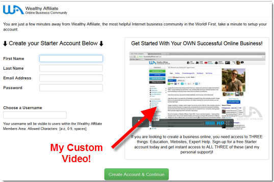 Wealthy affiliate custom sign up