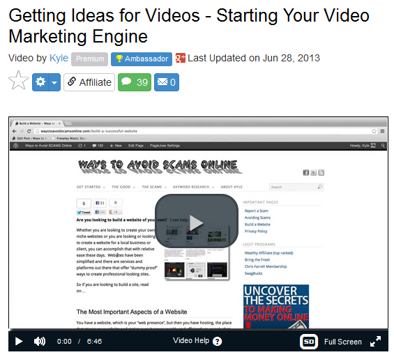 Wealthy affiliate ideas for videos