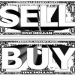 Image showing SELL on top and BUY below, both over 1 dollar bills each.