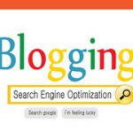 """Blogging"" written with colourful letters over a centered search term ""Search engine Optimization"""