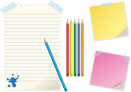 A notepad with coloured pencils and two memos, one red and the other yellow