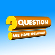 "The question mark sign written in relief with the top bearing ""question"" and the bottom ""we have the answer"""