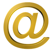 The sign @ in golden letters to show email autoresponder