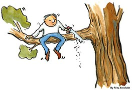 Drawing of a businessman sawing the tree branch on which he is sitting.