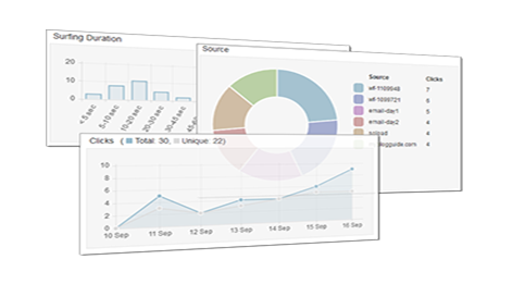 Graphs, bar and pie charts showing how you can track your leads
