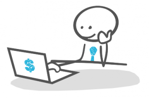 A drawing shwoing a mascot surfing on a laptop with a dollar sign