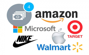 Page showing amazon, Microsoft, Target, Nike, Walmart and Apple logos