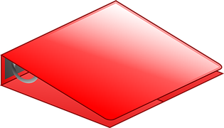 A red binder to signify organization