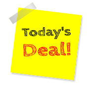 A yellow sheet pasted on a white background with the inscriptions Today's Deal!