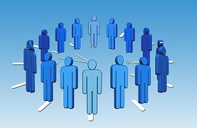 Figures in blue overalls standing in a circle to signify joining an affiliate network or program
