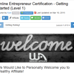 Online entrepreneur certificvation course welcome page