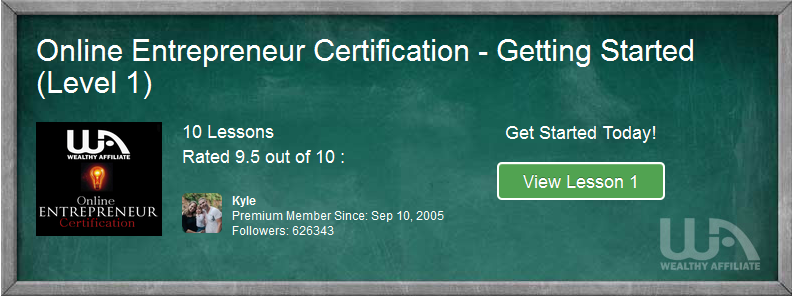 A green board showing details of the online entrepreneur certification course, level 1 as part of Online Entrepreneur Certification Course , Intro & Level I-1