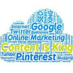 Image in form of cloud with Content is King written in yellow letters surrounded by blue letters of social media to signify how to amplifyyour writing effciency