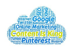 Image in form of cloud with Content is King written in yellow letters surrounded by blue letters of social media