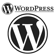 The wordpress logo W written in white against a black circular background and the whole on a white square board with with W and WORDPRESS written at the top