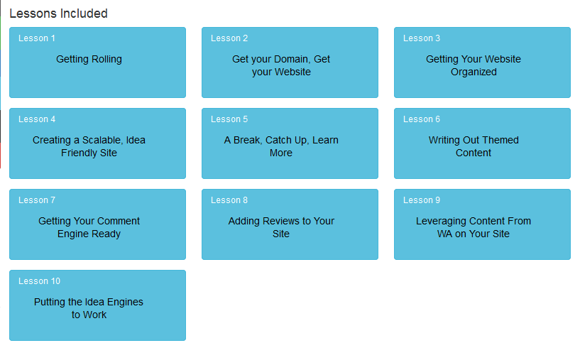 A list of the 10 lessons offered in the bootcamp course