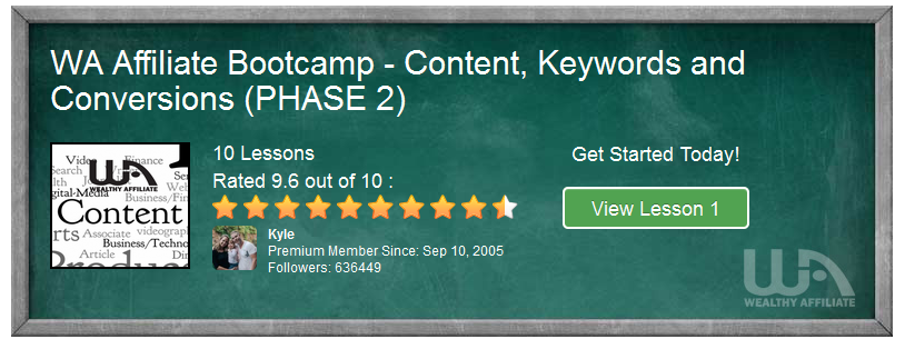 WA Affiliate Bootcamp – Content, Keywords and Conversions, PHASE 2, Intro & 1