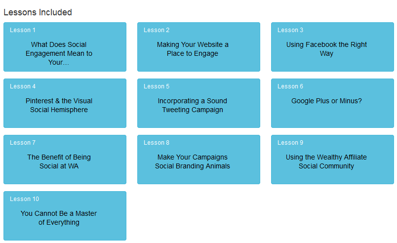 A list of the 10 lessons offered in the online entrepreneur certification course