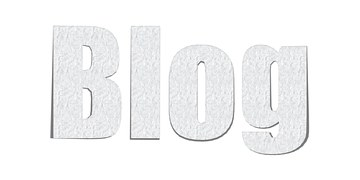 "The word ""Blog"" written in greyish large characters on a white background."