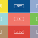 A colourful image with domain endings signifying a domain and a website.