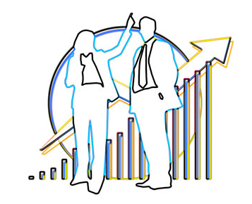 White image showing the silhouettes of a man and a woman with a graph shwoing rising traffic