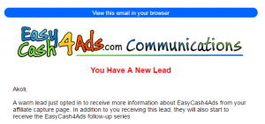The EasyCash4Ads email communication page about leads.