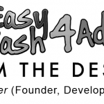 A black & white image showing the EasyCash4Ads logo as expression of 1,000 FREE Classified Ads Sites List