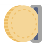 Drawing showing a golden coin being slid into a slot
