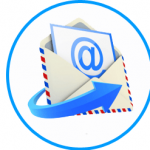 An envelope with the @ sign and a flying blue arrow, all inside a blue circle