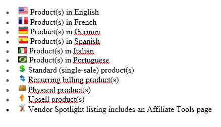 Clickbank's diffeent icons below each listing such as  product languages, etc.