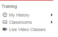 Image saying Training and its 3 subdivisions of My history, Classrooms, and Live video classes