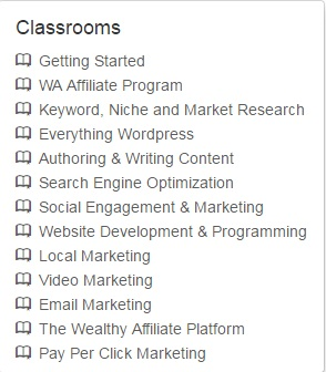 Classroom showing the different course modules done