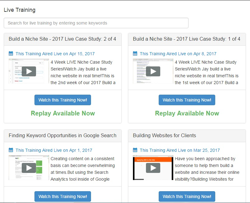 Live training, displaying details and video pictures of recorded webinars