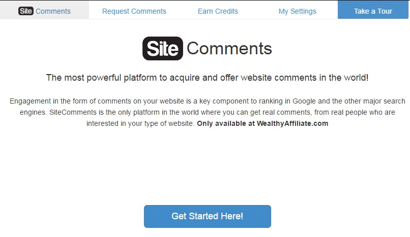 Image saying what Site comments is; a powerful platform to asquire and offer comments on websites