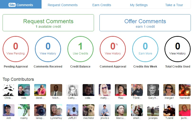 Wealthy Affiliate page to make and receive comments with names and pictures of top contributors