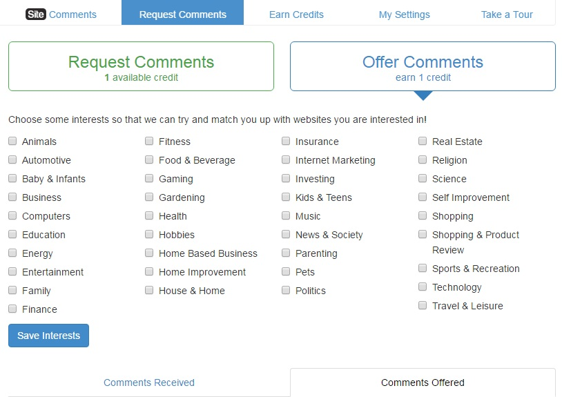 Requets and comment page showing the interests to be chosen