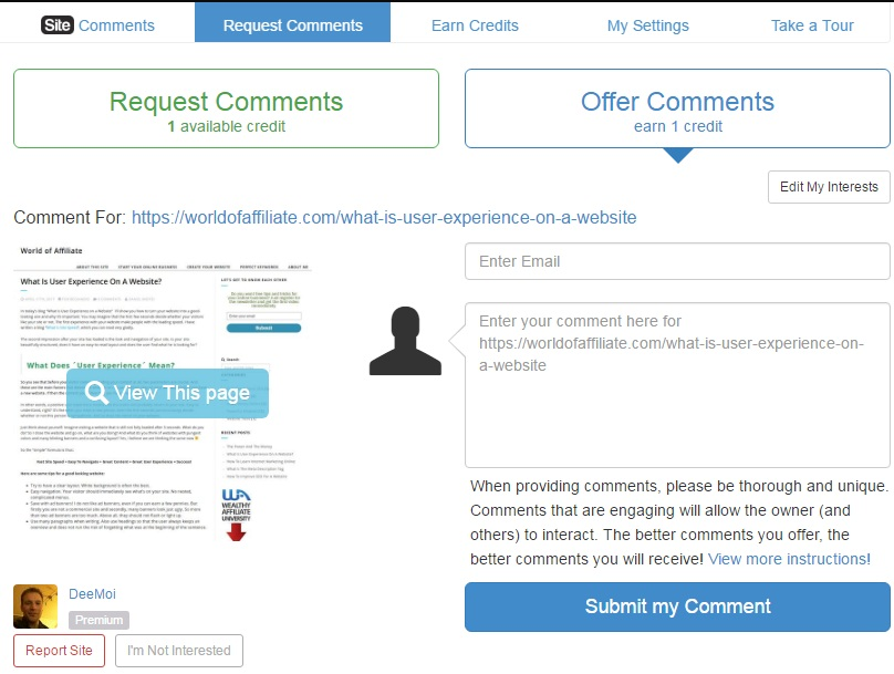 A real website requesting comments