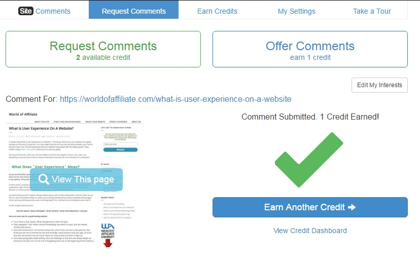 The site after I had made a comment on it, showing a green check mark