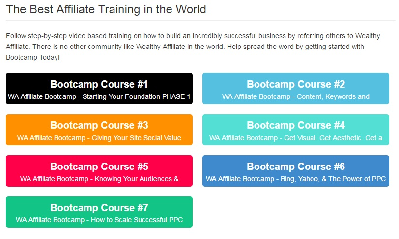 Image showing each of the 7 affiliate bootcamp courses on colorful triangles