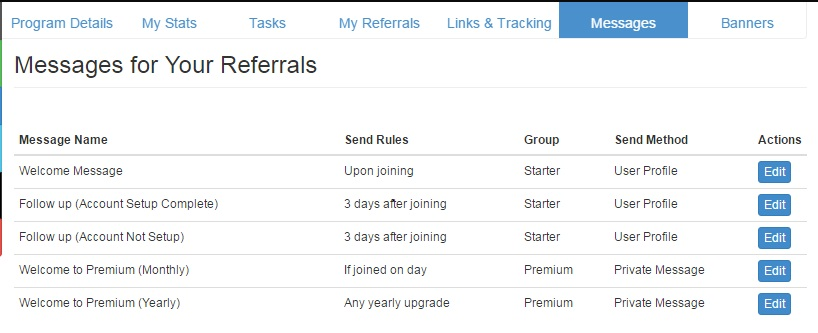 Messages for referrals on joining and on upgrading