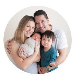 Circular photo of Carson, Wealthy Affiliate co-founder with their 2 children the smallest in their mother's arms